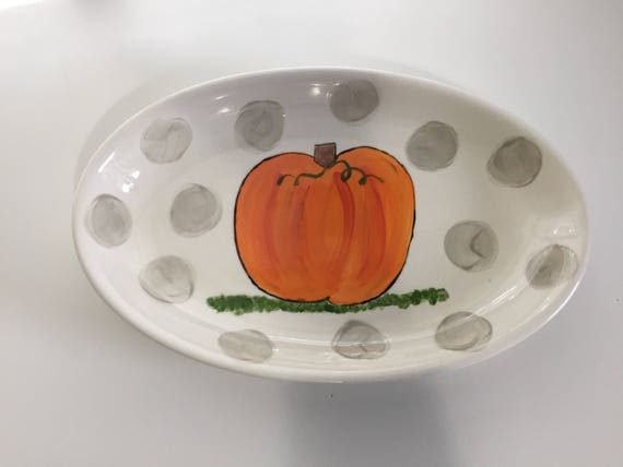 Hand painted pumpkin platter, fall platter, hand painted platter, pumpkin plate, fall decor, autumn platter, fall tablescape