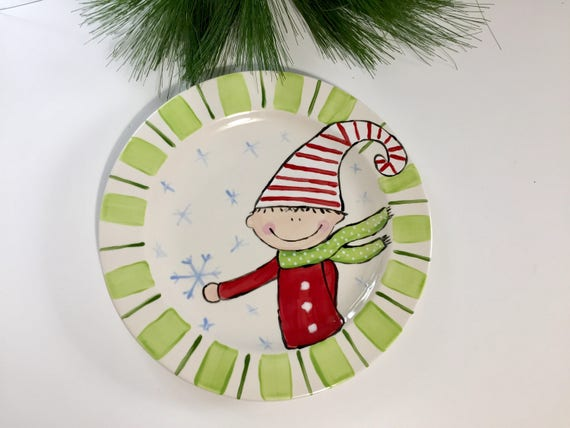 Hand painted Christmas Elf Platter, Christmas cookie plate, Elf Christmas plate, Christmas platter, Hand painted Christmas elf plate