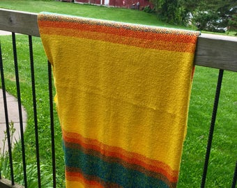 Vintage Fringe Lap Blanket Fall Colors Yellow and Reddish Orange