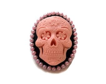 Day of the Dead Brooch, Rockabilly pink and black skull cameo pin, Pink Sugar Skull Brooch, Dia de los Muertos
