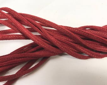 "Red 54"" Leather Strap Draw String Stitched Suede"