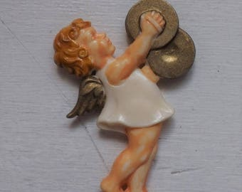 On Sale Vintage Christmas ornament angel ornament with cymbals ornament plastic ornament