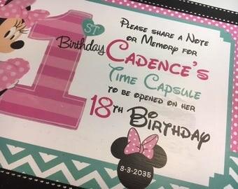 Share a Memory or Note Time Capusule Keepsake box -CUSTOM Baby Minnie Tourquoise