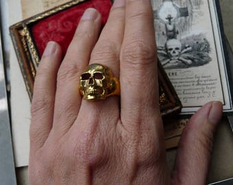 SALE:  Antique Victorian Memento Mori Skull Ring, A Talisman for the Alchemist, offered by RusticGypsyCreations