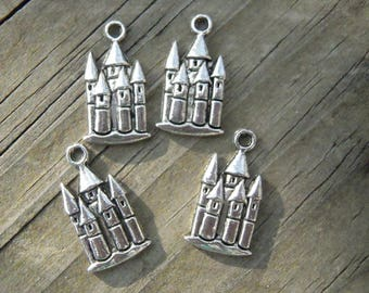 8 -  Castle Fairytale Pendants or Charms, princess castle necklace