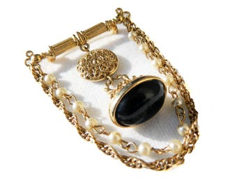 """Vintage Victorian Gold Double Chain Pearls Chatelaine Brooch - Faux Onyx Fob - Charm - Dangle - 2 7/8"""" High"""