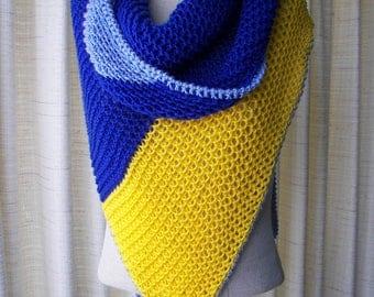 Hand Knit Asymmetrical Shawl Triangle Scarf Wrap in Blue & Yellow 100% Anti Pill Acrylic / Color Block Stripes