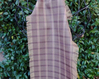 Tan, brown and pink plaid wool scarf, hand fringed