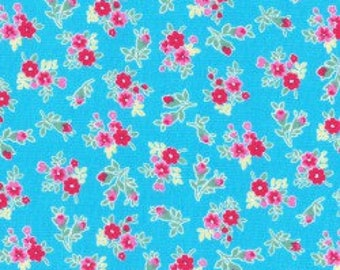 Small Floral in light blue from the Flower Sugar Berry Fall 2017 fabric collection by Lecien of Japan - 31515L-70