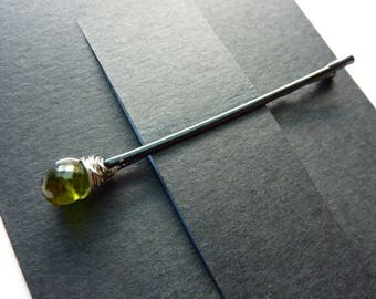 Green Tourmaline Bobby Pin - Green Stone - Gemstone Bobby Pin