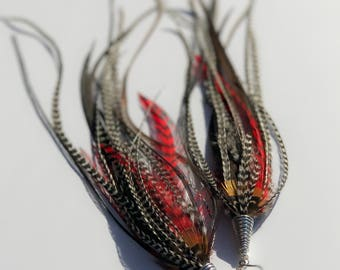 """13"""" Extremely Long and Full Feather Earrings in Red and Black Grizzly and Brown Natural Saddle Hackle Rooster boho gypsy festive costume"""