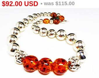 Spring Fling Sale Silver & Amber Bead Necklace - Large Chunky Retro Beaded Necklace - Runway Statement Jewelry - Vintage Era 1980's and 1...