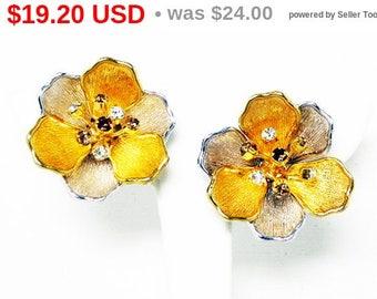 Spring Fling Sale Rinestone Flower Earrings - Clip on Earrings - Gold Tone - Silver Tone - Multi Colred Rhinestones - Retro Pre 1998 Vint...