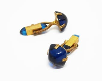 Art Deco Blue Cuff Links - Double sided - Rounded Square Blue Jelly Glass Cabochon & Bullet Shaped  Double Ended Vintage 1920's Cufflinks