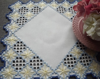 Hardanger Doily Centerpiece - Light/Dark Blue and Yellow on Cream with Cut Out Detail