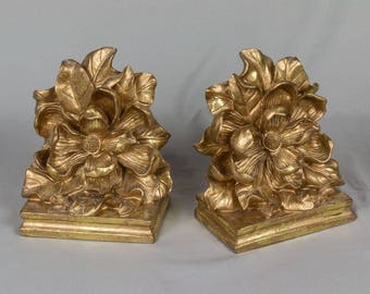Vintage book ends Large Magnolia / leaves on a base Beautiful detail work Felt bottom and back Pristine, Heavy