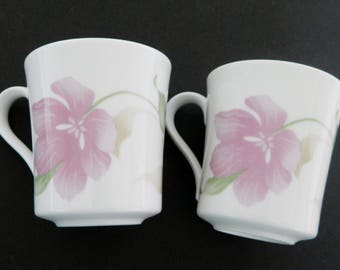 Corelle by Corning Coffee Cups Mugs Pacifica Pattern USA Orchid Peach Flowers 2