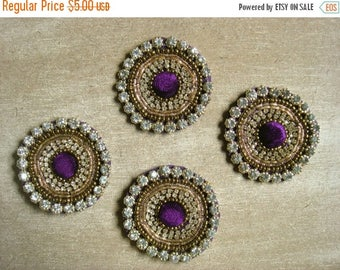 CIJ SALE Indian Embellishment - Purple and Gold Round Embroidered Motif - mtf059 - 4 pc