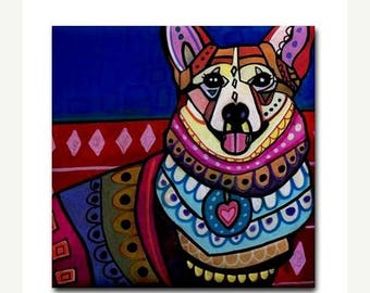45% Off Today- Corgi Art Tile Ceramic Coaster Print of painting by Heather Galler dog Gift
