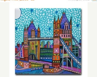 45% Off Today- London Bridge with Skyline  Folk Art Ceramic Tile  City Coaster  Modern Unique Gift Colorful Coaster Modern Art