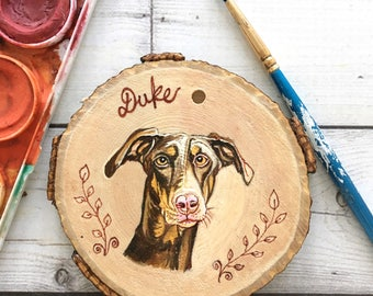 Doberman Portrait - Custom Dog Portrait - Doberman Ornament - Doberman Art - Doberman Gifts - Valentines Gift - Valentine Pet Portrait