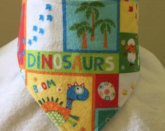 Dinosaur Reversible Flannel Bandana Bib