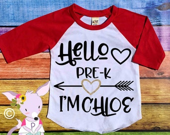 Hello Kindergarten 1st grade Preschool Shirt Custom Back to School Shirt with name heart glitter preschool Kindergarten back to school shirt