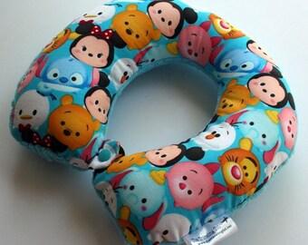 Child Travel Neck Pillow - Tsum Tsum w/ Turquoise Minky