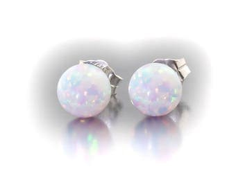 Lorraine: 5mm Australian Fiery White Opal Ball Stud Post Earrings, 925 Sterling Silver, Minimalist Earrings, Wedding Jewelry, Bridal Earring