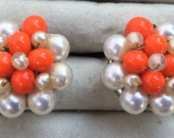 Vintage coral and pearl clip on earrings