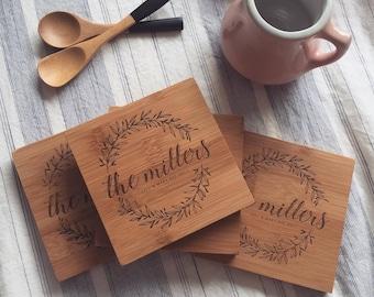 Custom Coasters, Wood Coasters, Engraved Coasters, Personalized Coasters, Wedding Gift Coasters, Customized Coasters, Coasters Wedding