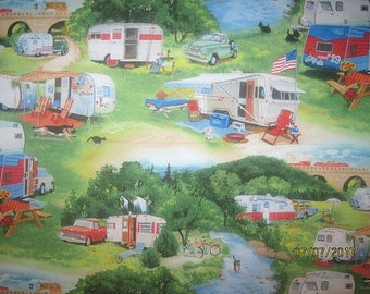 CAMPERS, Cotton Fabric, Fat quarter, 18X22, scrap, remnant, camp, travel, trailer, living simply, deer, tree