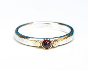 Red Garnet ring, Engagement Ring, Silver ring ,solitaire ring ,silver sterling band ring, gift for her, MADE TO ORDER, Mom gift, Gold ring