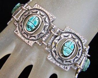 Egyptian Revival Faience Blue Scarab Bracelet, Adjustable Length, 1960s Vintage Jewelry 1217