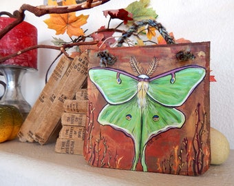 ORIGINAL Mixed Media Painting LUNA MOTH Illustrations Butterfly Artwork Insect Lovers Gifts Magical Green Moths Acrylic Paintings Nature Art