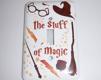 Wizard themed single light switch cover, The Stuff of Magic, Kids room, Broom, Cauldron, Glasses, Wand