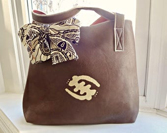 Painted Brown Tote Tribal Immunity Artisan Vegan Handbag Purse with Bow African print Gye Nyame Adinkra bag