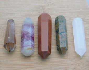 5 Gemstone Wands Smokey Quartz Fluorite Goldstone Unikite Selenite Destash Lot