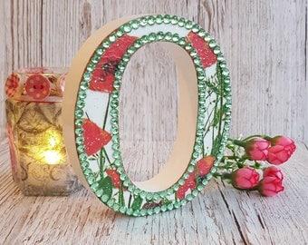 Letter O, Poppy, glitter, initial, decoupage, rustic, boho, poppies, birthday, housewarming gift