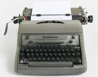 1950s Smith Corona Model 88E Manual Typewriter, Full Size Office Machine with Green Keys