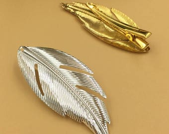 20 Brass Alligator Hair Clips W/ 60x25mm Filigree Feather Silver/ Gold Plated- Z9177