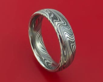marbled kuro damascus steel ring custom made wedding band - Damascus Wedding Ring