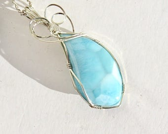 Larimar Pendant - Wrapped Pendant - Sterling Wire Wrapped Larimar - Larimar Necklace
