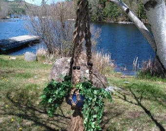 Placid Macrame Plant Hanger With Black Beads
