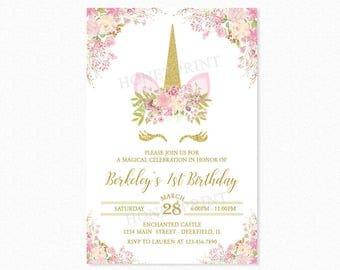 Unicorn Birthday Party Invitation, Unicorn Head Invitation, 1st Birthday, Girl, Gold Glitter, Pink, Floral, Printable or Printed