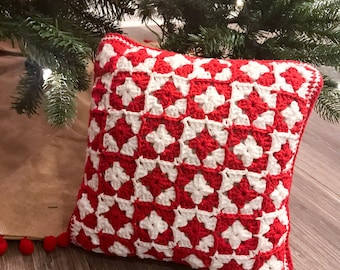 Christmas Pillow | red and white pillow | crochet pillow | holiday | holiday pillow | decorative pillow | accent pillow
