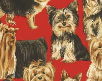 Timeless Treasures Red Purebred Pups Fabric - 1 yard