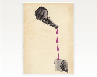 CLEARANCE SALE! A4 Alcohol Art Print, Hand Art - A Stiff Drink