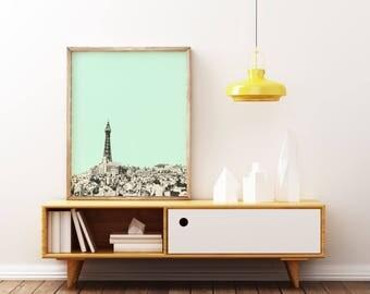 Blackpool Print, British Seaside Art, Mint and Grey Wall Art - Blackpool