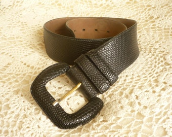 Black Italian Made Genuine Lizard Skin Bohemian Waist Belt Size XS